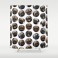 Pugka Dot Shower Curtain by Huebucket