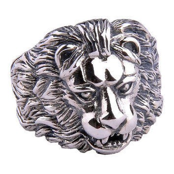 Vicious Lion King Ring w/ Detailed Lion's Head Design Cool Jewelry for Men-Size 10