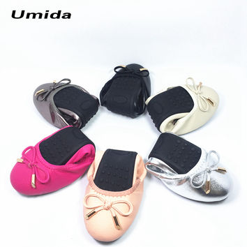 Umida Brand Women Shoes Plus Size 30-43 Genuine Leather Shoes Hot Sale Ballet Flats Shoes Foldable Travel Shoes Pregnant Shoes