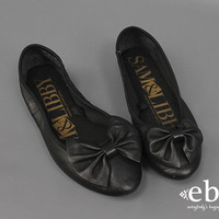 Black Ballet Flats Black Leather Flats Bow Flats Black Flats Leather Bow Shoes 80s Flats 1980s Flats Sam & Libby Shoes Comfy Flats size 6