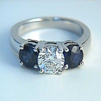 3.50ct Round Diamond and Sapphire Engagement Ring 18kt White Gold JEWELFORME BLUE