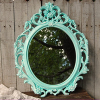Reserved Mint green shabby chic mirror