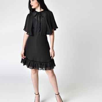Hell Bunny 1940s Retro Black Mesh Sleeved Imperia Flare Dress