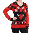 Chicago Bulls Forever Collectibles Women's V Neck Big Logo Ugly Sweater Sizes S-XL w/ Priority Shipping