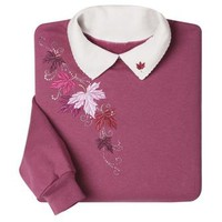 MORNING SUN, INC. Women's Embroidered Mulberry Leaves Sweatshirt
