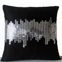Decorative Pillow - Black Small Pillow -Black Silver Pillows -Decorative Throw Pillow -Silver Sequin Pillows -Geometric Pillows -12x12 -Gift