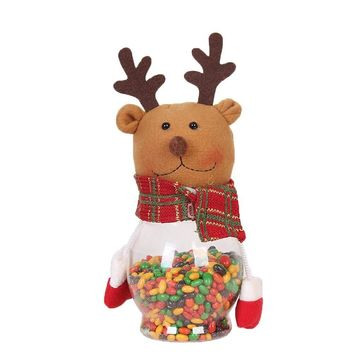 Chocolate Finmind Christmas Candy Cans Snowman Santa Claus Elk Candy Box Jar Biscuit Container Party Kids Gift Candy Chocolate Storage Christmas Home Decoration Lovely Christmas Ornaments (Elk)