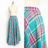 Vintage 70s Skirt - Wool Woven Pastel Teal Plaid Full Skirt 1970s - XS / Small