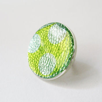 Green Ring, Large Neon Ring, Big Resin Ring, Polka Dot Ring, Womens Chunky Ring, Funky Round Ring, Adjustable Ring, Iridescent Jewelry