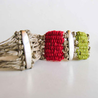 Woven  Boho Bracelet, Neon color Cuff Bracelet, Fiber Cuff Bracelet, Woven Jute on Natural hemp cord Bracelet, Eco-friendly, Natural Jewelry