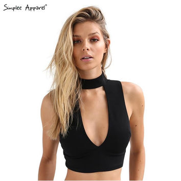 Simplee Apparel high neck white halter girls 90's cropped tank top Summer sexy  v neck sleeveless fitness women short crop tops