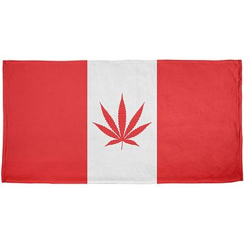 Canada Flag Pot Leaf Marijuana All Over Beach Towel