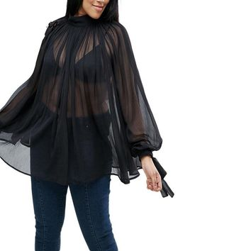 Black Lantern Sleeve Blouse