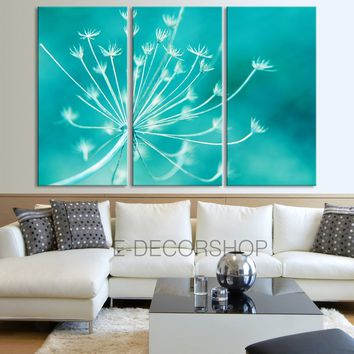 Large Wall Art Canvas Print Dandelion - Turquoise Background Canvas Printing