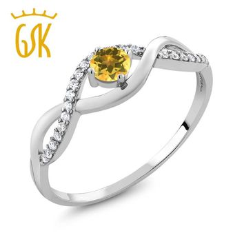 2017 New style Jewelry women Gemstone ring 0.57 Ct Round Yellow Citrine 925 Sterling Silver Infinity Ring delicacy wedding gifts