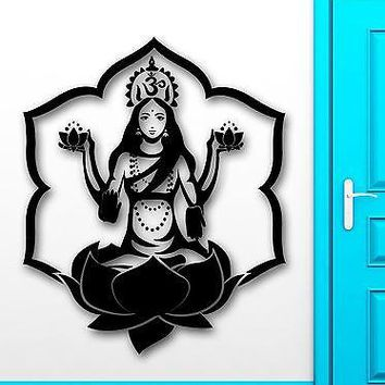Wall Sticker Vinyl Decal Om Mantra Meditation Girl Buddhism Lotus Unique Gift (ig2139)