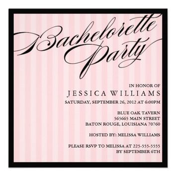 Pink Striped Bachelorette Party Custom Invitations from Zazzle.com