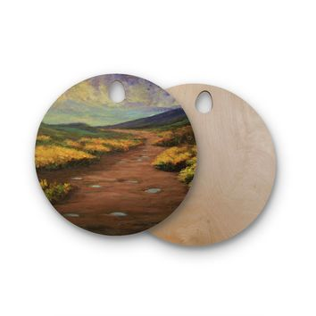 "Cyndi Steen ""Passing Storm"" Orange Multicolor Painting Round Wooden Cutting Board"