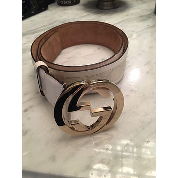 Authentic Gucci Ladies White Monogram With Gold Buckle Belt