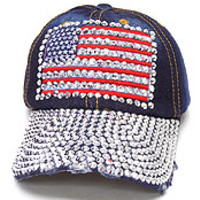 Bling American Flag Girl Power cap