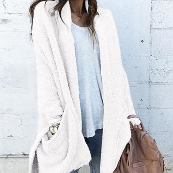 White Furry Pockets Side Slit Long Sleeve Casual Sweaters Cardigan