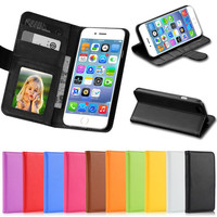 5C Luxury PU Leather Case Photo Frame Wallet Book Cover For Iphone 5C Credit Card Slot Phone Shell Full Protect Flip Cover Case