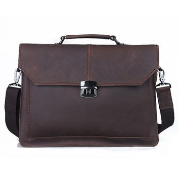 Dark Brown Modern Leather Briefcase