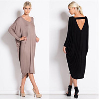 2016 New Arrival Winter Autumn Women Elegant Long-sleeved Casual Dresses Sexy Loose Backless Black Plus Size Maxi Dress Vestidos