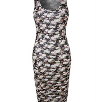 Floral Print Sleeveless Side Shirring Fitted Maxi Dress (CLEARANCE)
