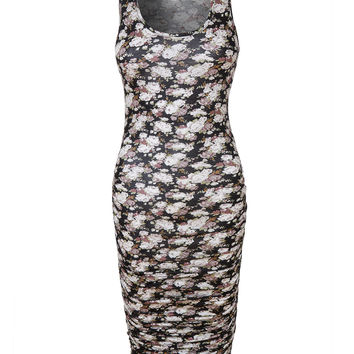 LE3NO Womens Floral Print Sleeveless Side Shirring Fitted Maxi Dress