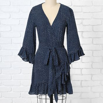Navy Polka Dot Ruffle Wrap Dress
