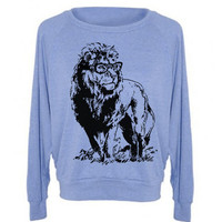 Womens Sweatshirt  Lion Professor Tri-Blend Raglan Pullover Sweater - American Apparel - S M and L (8 Color Options)