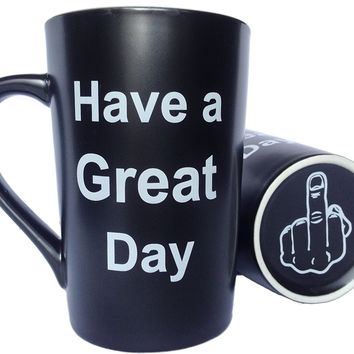 MAUAG Funny Christmas Gifts - Funny Ceramic Coffee Mug Have a Great Day with Middle Finger on the Bottom Funny Porcelain Cup Black, Best Father's Day and Mother's Day Gag Gifts, 13 Oz by LaTazas