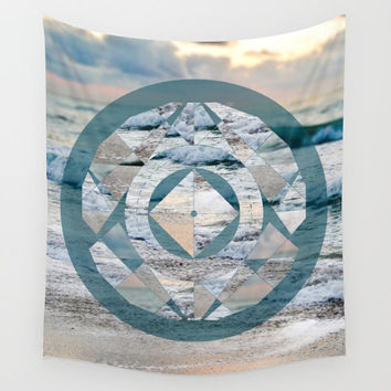 Ocean Geometric Circle Mandala Wall Tapestry Yoga Meditation Mandala Wall Hanging