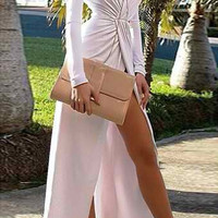 White V-Neck Long Sleeve Hem Maxi Dress