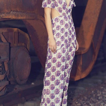 Secret Garden Floral Chiffon Maxi Dress
