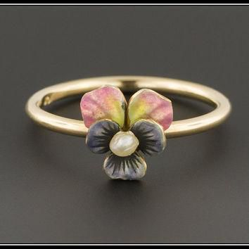10k Gold Pansy Ring| Enamel & Pearl Pansy Flower Ring | Antique Pin Conversion Ring |