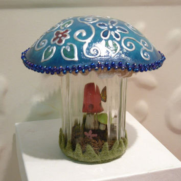 Mushroom Terrarium   Embossed look hand painted by workofwhimsy