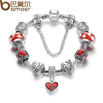 Strand Bracelet Fashion Silver Color Heart Bracelets with Red Glass Bead Women Bracelet Accessories PA1885