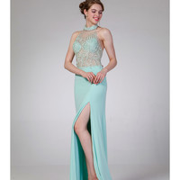 Mint Halter Sequin High Slit Dress 2015 Prom Dresses