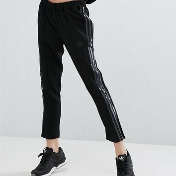 Adidas Originals Chiffon Silver wire Hollow Breathable Cigarette Pant Trousers - 7 Points long