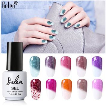 Belen 7ml Nail Gel Snowy Thermal Chameleon Temperature Change Color Gel Polish DIY Nail Art Mood Color Changing UV Gel Polish