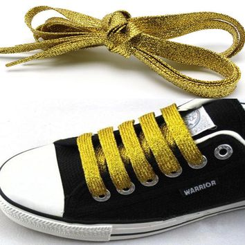 Gold Metallic Glitter Flat Shoelaces Canvas Sneaker Athletic Boots Shoe 45 inch