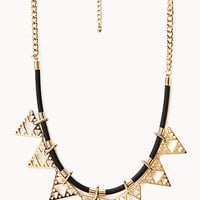FOREVER 21 Edgy Faux Leather Cord Necklace Black/Gold One