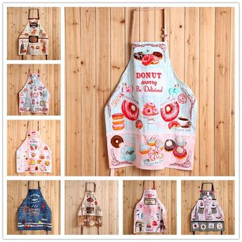 75CM fashion 100% cotton cartoon sleeveless aprons adults cake macaron canvas apron lady Kitchen cute aprons bakery work clothes