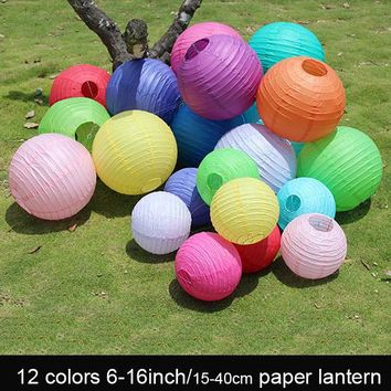 "10pc 6-16"" 15-25-30-35-40cm Decorative Paper Lampion Ball Festival Supplies Chinese Paper Lantern For Wedding Party Decoration"