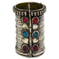Turkmen Bracelet Afghan Kuchi Cuff Carved Tribal Jewelry Red Antique Ethnic Boho