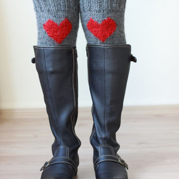 SALE Coupon - Knit boot cuffs, Heart leg warmers, Red Grey boot cuffs, Heart Knit cuffs, Knit heart boot toppers, Heart Knee socks,