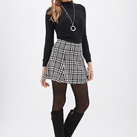 LOVE 21 Fluted Abstract Houndstooth Skirt Black/Ivory