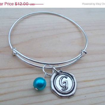 ON SALE Initial Bangle Bracelet With Birthstone Charm,Letter Bracelet, Initial Jewelry, Party Favors,Wedding Favors, Childrens Jewelry,Kids
